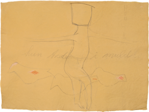 Hun Træder i Muld. 56x78 cm. Tegning.