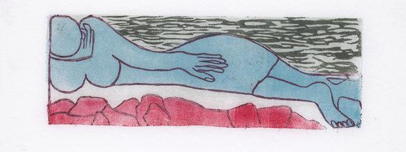 Sleeper-serien (Tellings) linocut, unika, olie på Cocon. 2013.