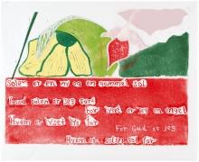 Den Vilde Have III, 57,5 x 70 cm, linocut, unika, olie på japanpapir