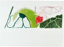 Den vilde Have II, 50,5 x 70 cm, linocut, unika, olie på japanpapir