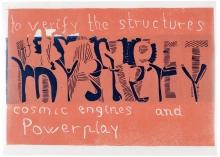 Notat M, 46 x 64 cm, linocut, unika, olie på japanpapir