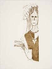 Selvportræt, 76 x 53 cm, linocut, unika, olie på japanpapir