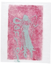 Supergirl, 76 x 63 cm, linocut, unika, olie på japanpapir