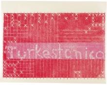 Notat M, 49 x 63,5 cm, linocut, unika, olie på japanpapir