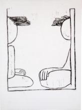 """""""Vind i Håret"""",47x34,5cm, linoleumstryk, unika, olie på kokon"""