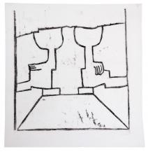 Den ene og den andens bog, 32,5 x 31 cm, linoleumstryk, unika på kokon