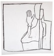 Terapeuten hilser, 49 x 47,5 cm, linoleumstryk, unika på kokon