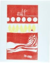 No self, 76 x 63 cm, linocut, unika, olie på japanpapir