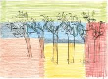 Trækfuglene, 21x29cm, farveblyant på papir, 2007