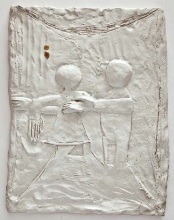Hvid berøring, H:50xB:40cm, stentøj, 2011