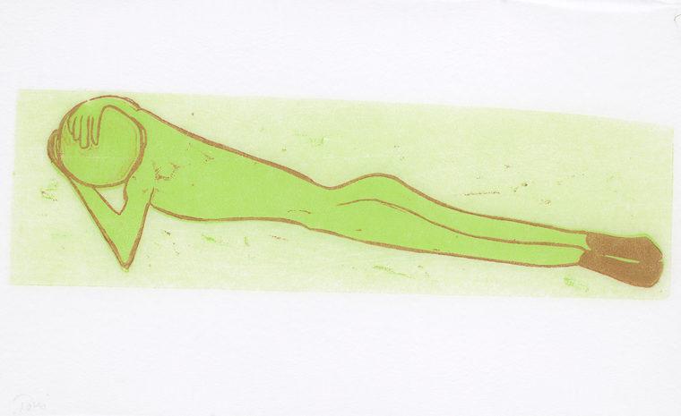 Krop samler grøn, 36x56cm, linocut, unika, olie på japanpapir, 2013