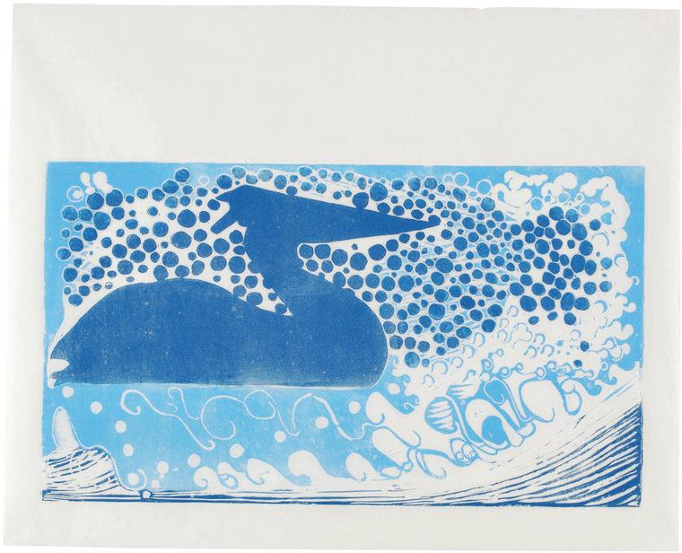 Silversurfer, 47,5 x 64 cm, linocut, unika, olie på japanpapir