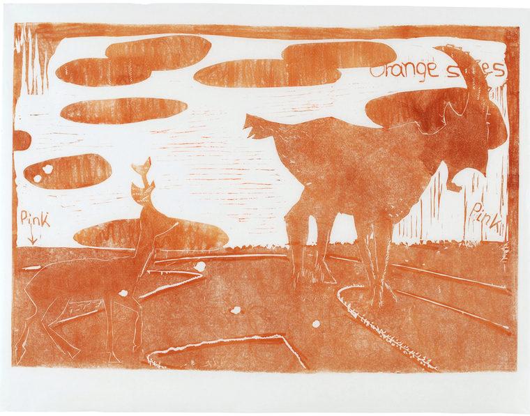 Elegi, 90 x 72 cm, linocut, unika, olie på japanpapir
