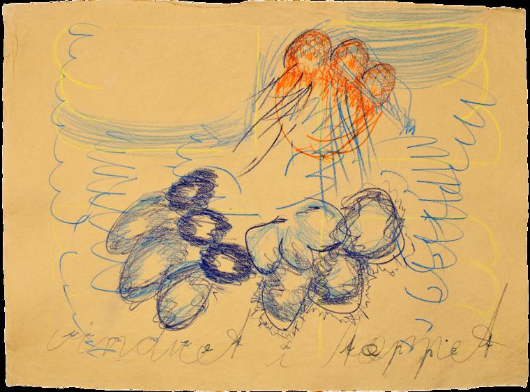 Vinduet i Tæppet, 56x78cm, farveblyant på håndlavet papir, 2012