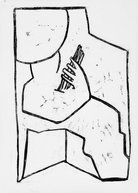 """The Guitarist"", 40,5x28,5cm, linoleumstryk, unika, olie på kokon"