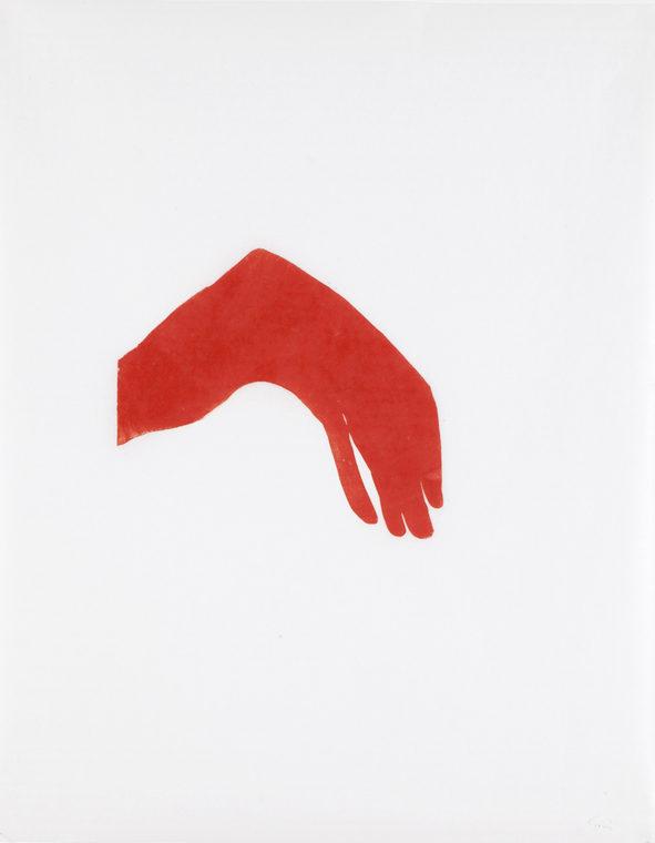 Flyder med rød, 96x78cm, linocut, unika, olie på japanpapir, 2013