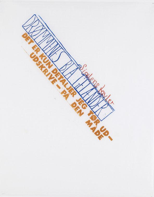 uden titel, 97x78cm, linocut, unika, olie på japanpapir, 2013