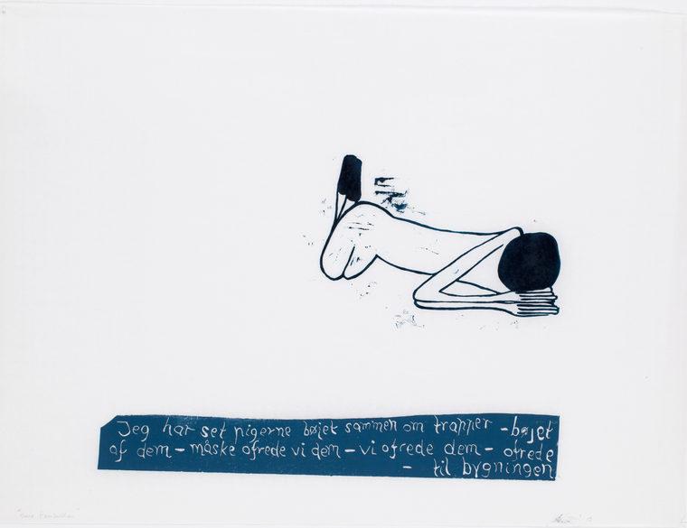 Soner Tomheden, 78x98cm, linoleumstryk, unika, olie på japanpapir, 2013