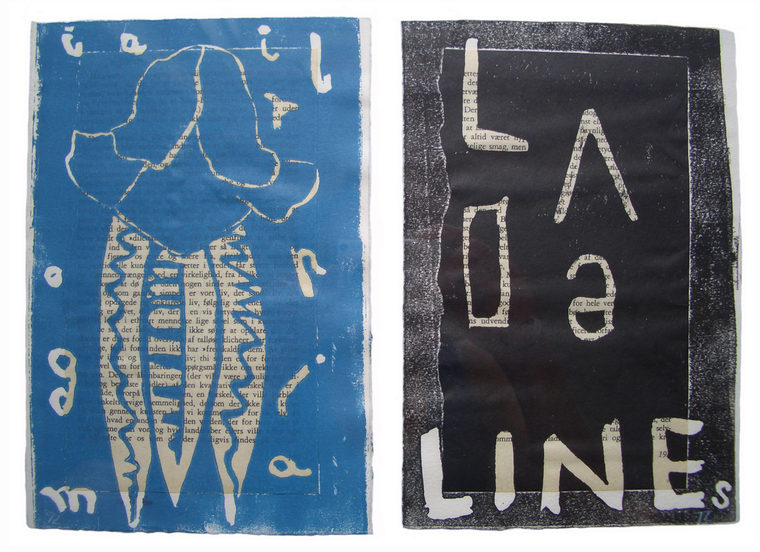 proust palimpsest, 24 x 32 cm, linoleum på Proust